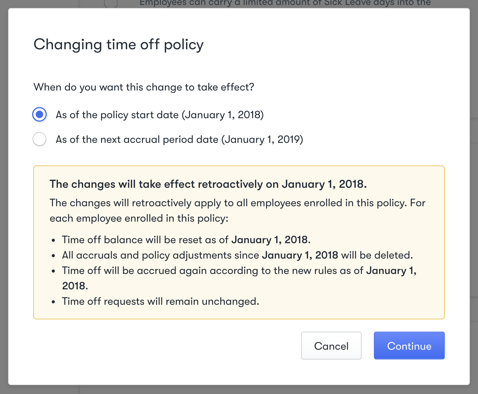 Changing time off policy menu displaying effective date options and warning message for retroactive changes.