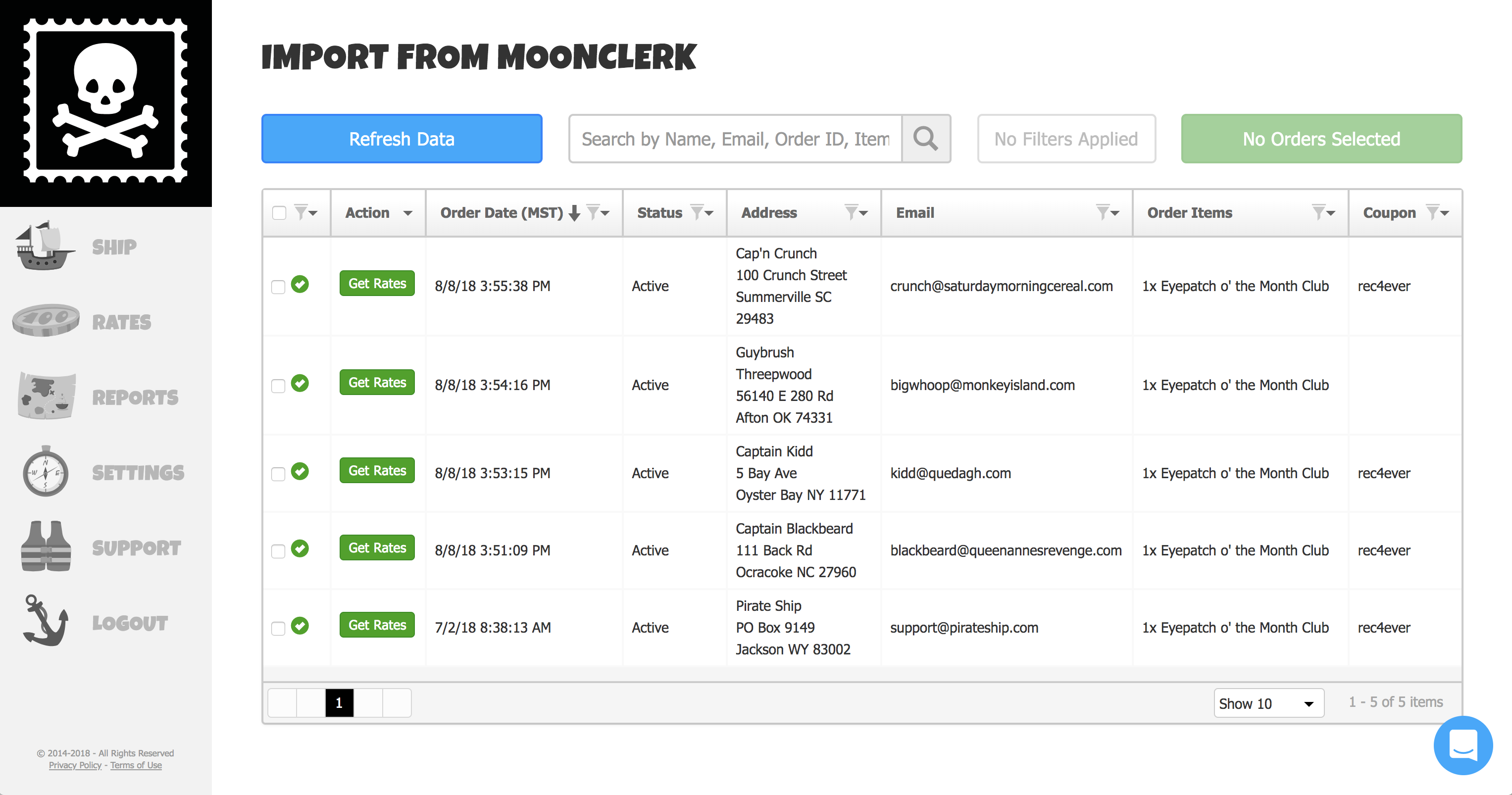 A screenshot showing MoonClerk orders on Pirate Ship's Import Grid.