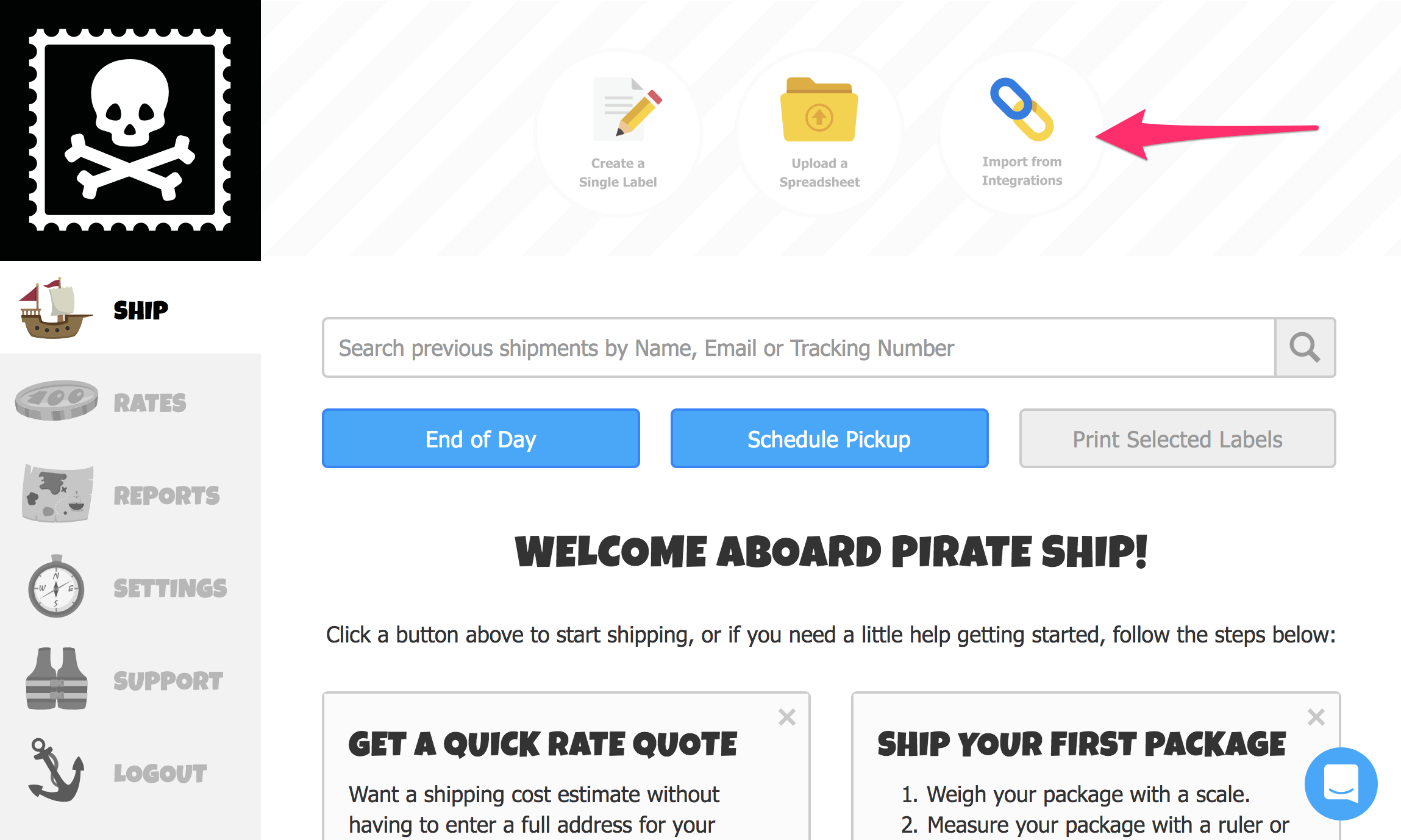 A screenshot showing the Ship Page on Pirate Ship. A red arrow points at the 'Import From Integrations' button in the top center of the page.