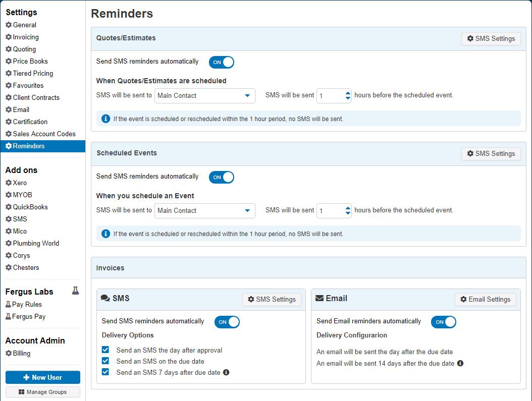 Automatically Send Invoice Reminders Fergus Help Center - Quickbooks invoice reminders