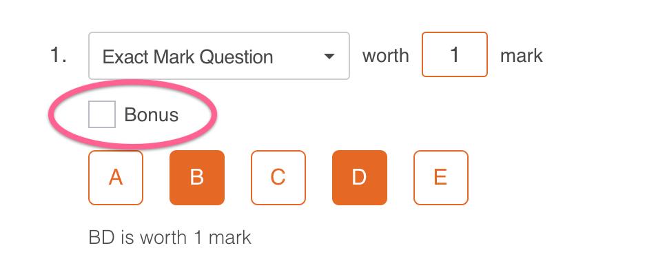 Image: Selecting a Bonus Mark