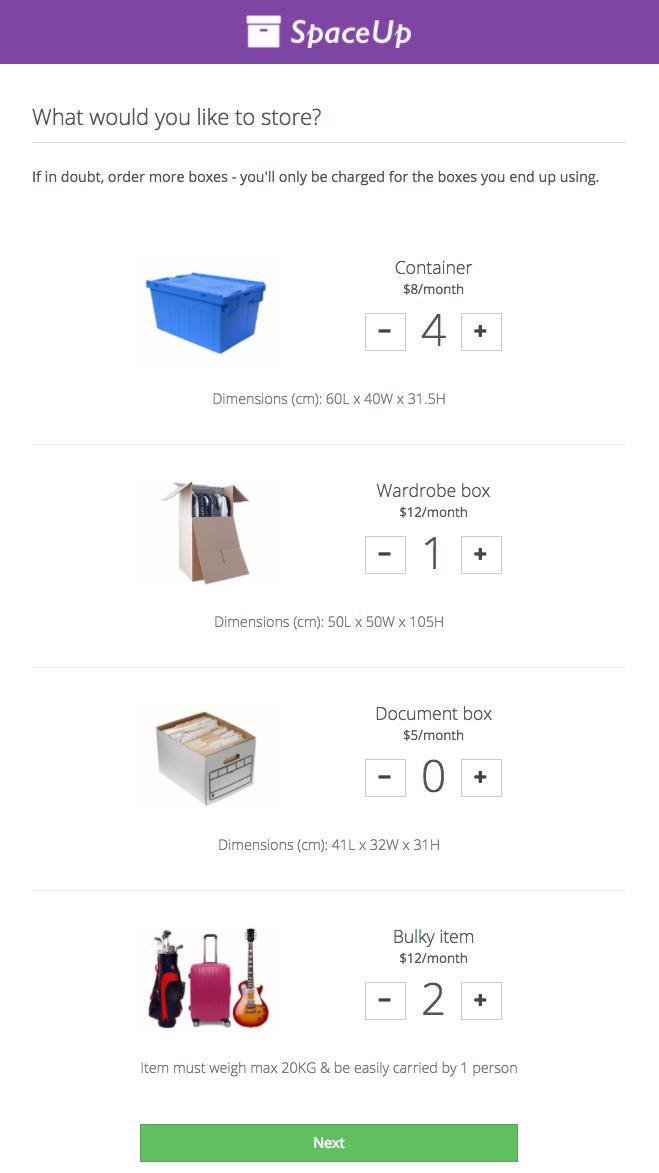 How storage items look in the Valet Customer App