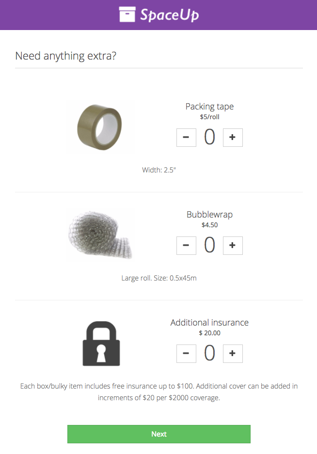 How storage products look in the Valet Customer App