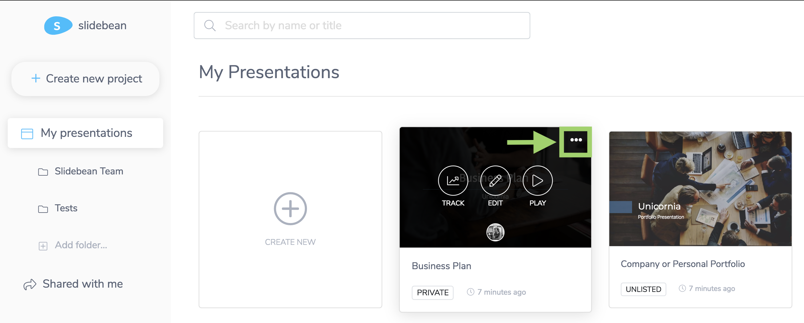 Export a presentation slidebean help to request an export from your dashboard home page just hover over the presentation and look for the ellipsis button three little dots toneelgroepblik Image collections