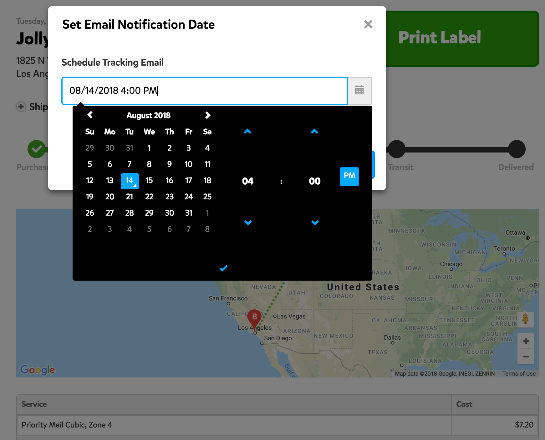 A screenshot showing the 'Set Email Notification Date' window that appears when you click the time stamp to change the email time. In this window, you can set the date and time that your recipient will receive the tracking email.