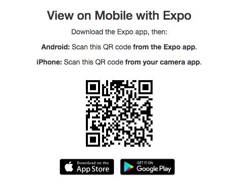 Screenshot of QR code for running a program in Expo