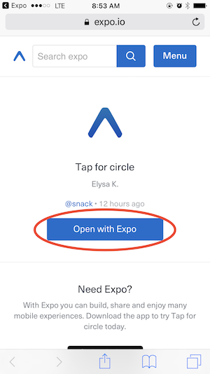 Screenshot of iPhone screen with Open with Expo button circled