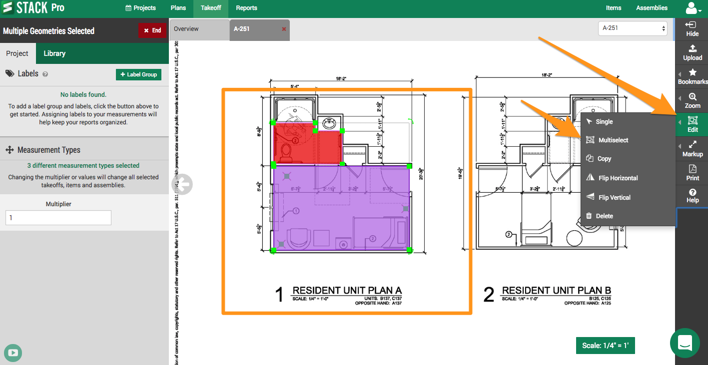 Using The Multiplier Screen Shot Stack Construction Technologies Actually Prefer To Get Several Copies Of My Floor Plan And Draw Each Is Great For Plans That Repeat Allowing You Not Unit Start By Multi Select A Rectangle Around Geometry