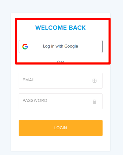 red box highlights Log in with Google button