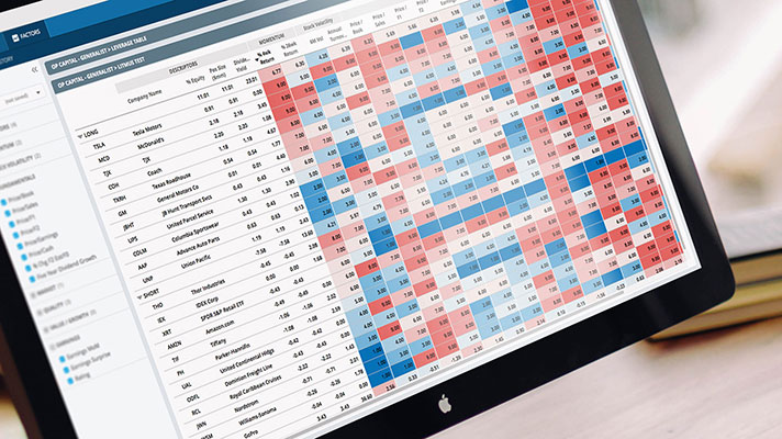 Desktop screen showing a heatmap of factor exposure scores for all securities in a portfolio
