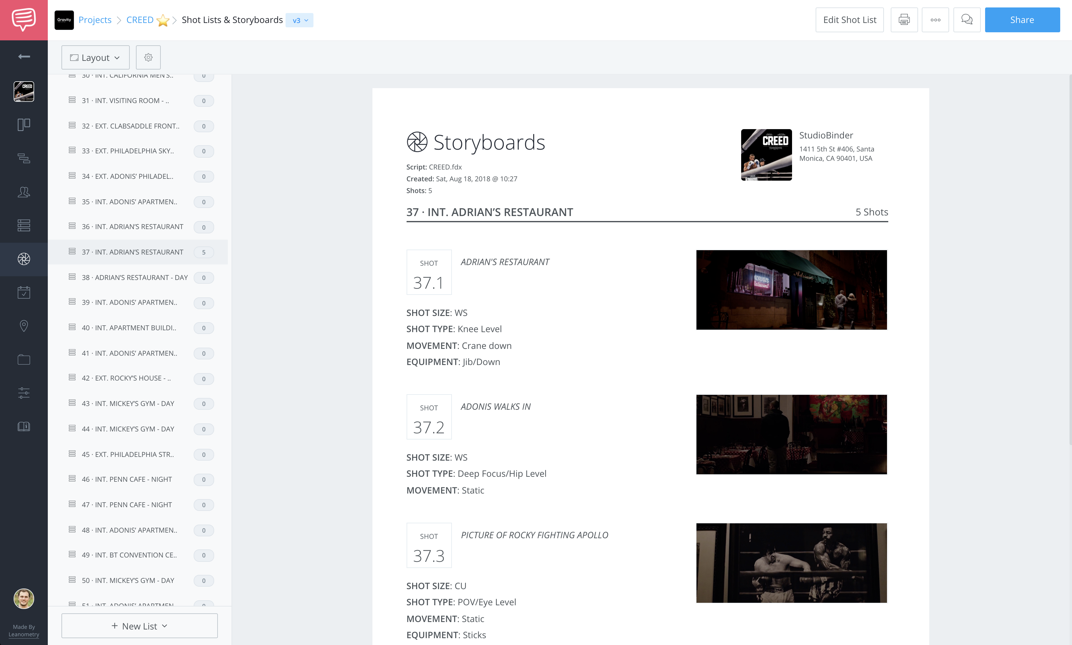 how to save or print your shot list and storyboard studiobinder