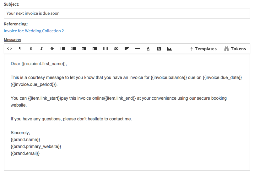 email templates quick responses táve support