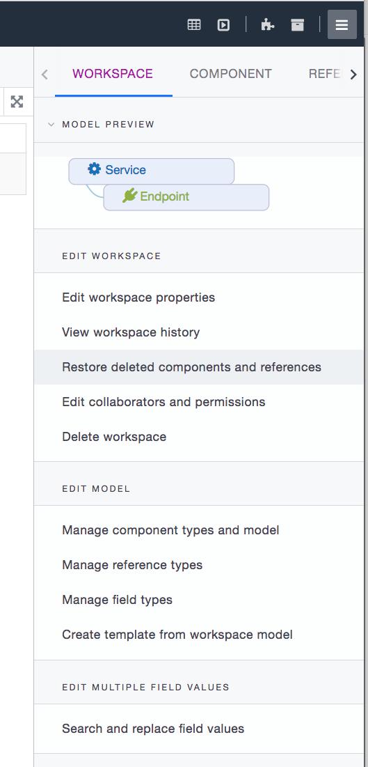 Ardoq workspace menu
