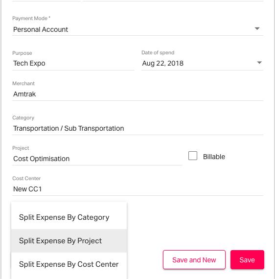 Splitting expenses in expense form on Fyle