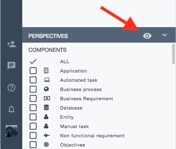 Ardoq data visualization perspectives menu