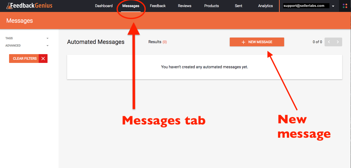 step 1 click on the messages tab in the feedback genius dashboard home screen then click on the new message button