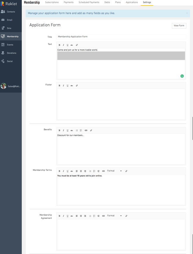 Second step to create an online membership form, fill out the details