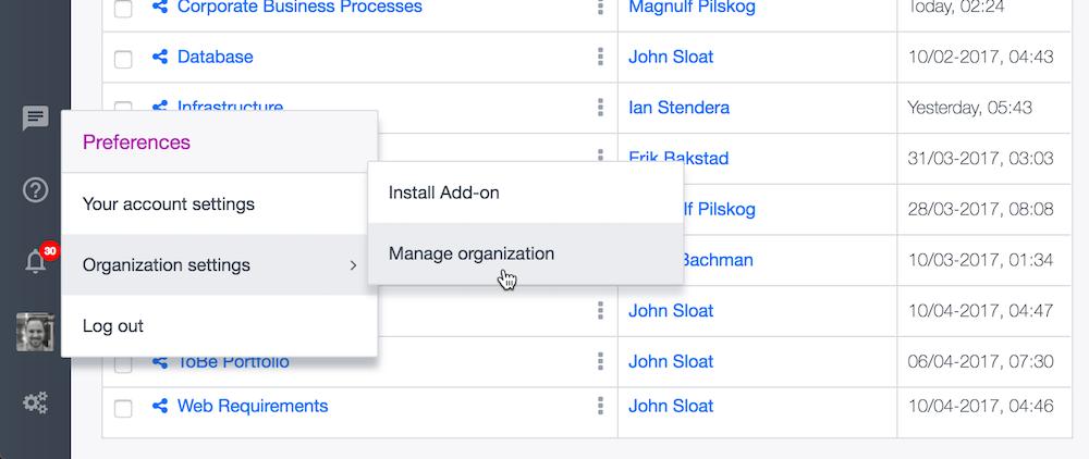 Ardoq manage organization