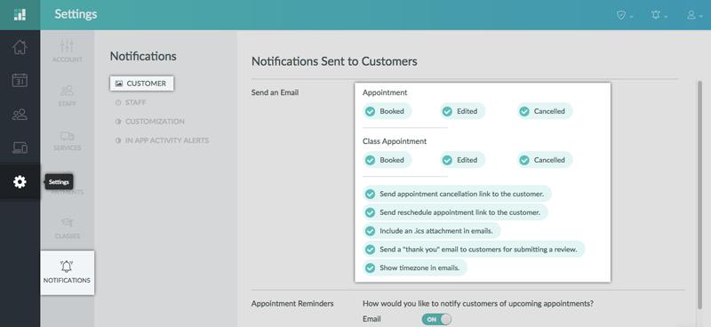 Enabling customer notification in the Setmore web app