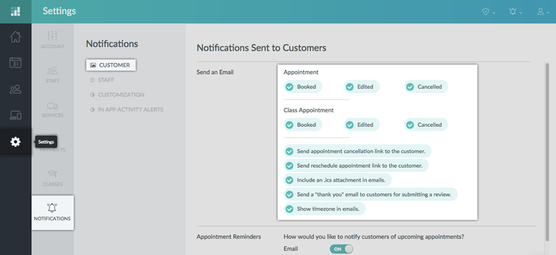 Enabling customer notification in the Setmore web app