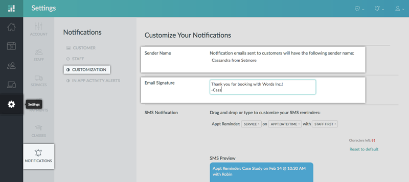 Customizing Sender Name and Email Signature for the notification emails