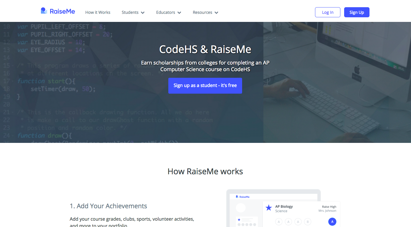 RaiseMe sign up and log in page