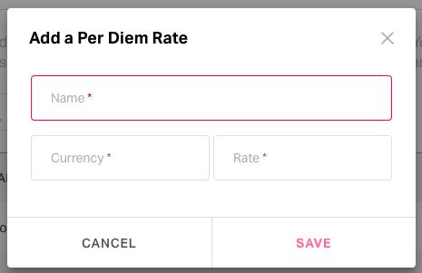 Adding per diems in Admin Settings