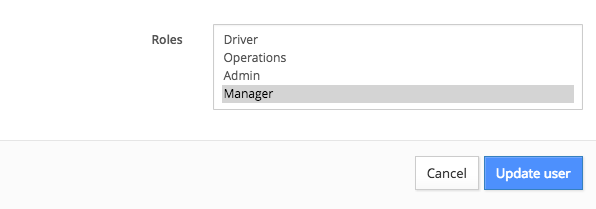 admin roles: driver, operations, admin, manager