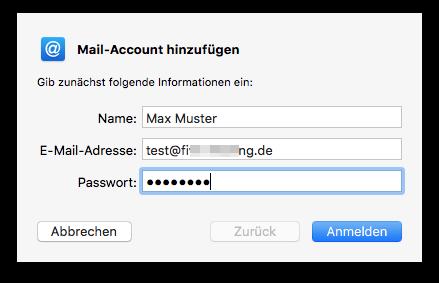 E-Mail Kontoinformationen eingeben