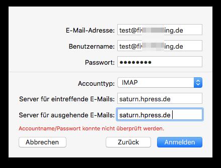 Alle fehlenden Infos ergänzen (Servername entsprechend anpassen!