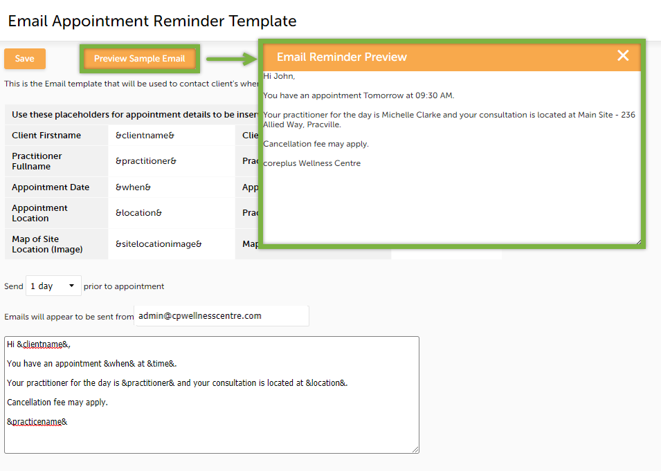 Email reminder template coreplus help centre once youve finished setting your email reminder template up click save maxwellsz