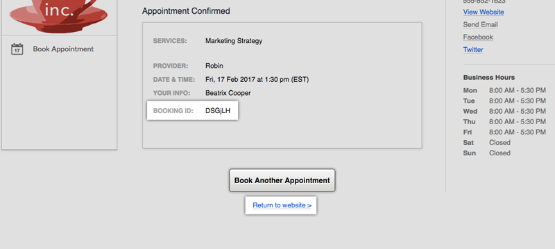 The Booking ID on the Appointment Confirmation window