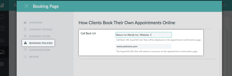 Adding a Call Back URL to appear on the Booking Page