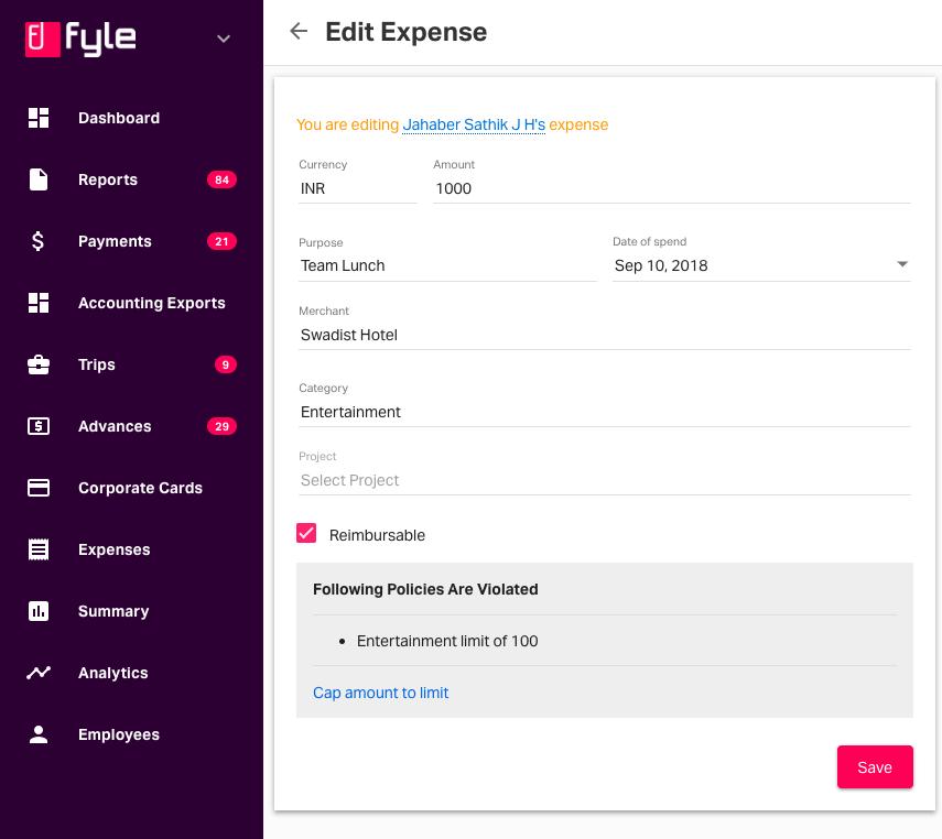 editing an employee's expense