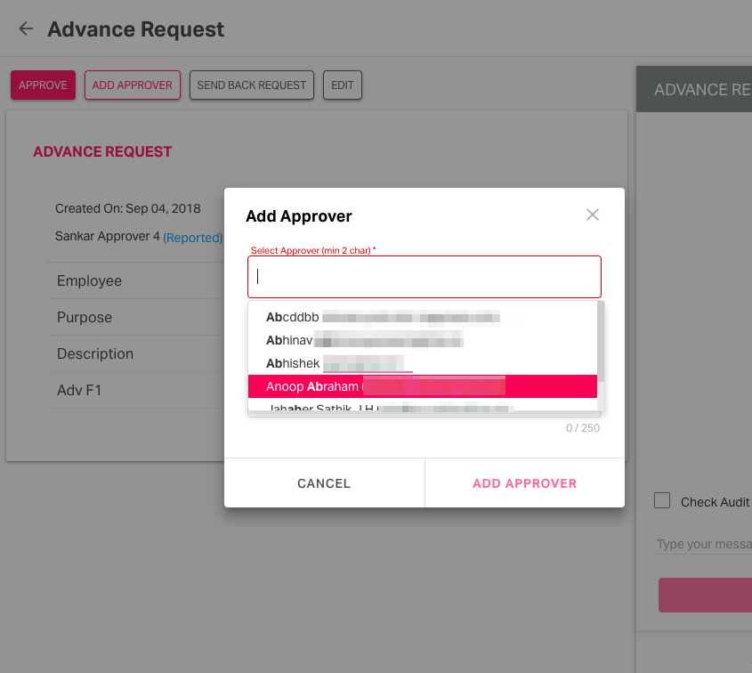 Selecting the email ID of the approver from the dropdown