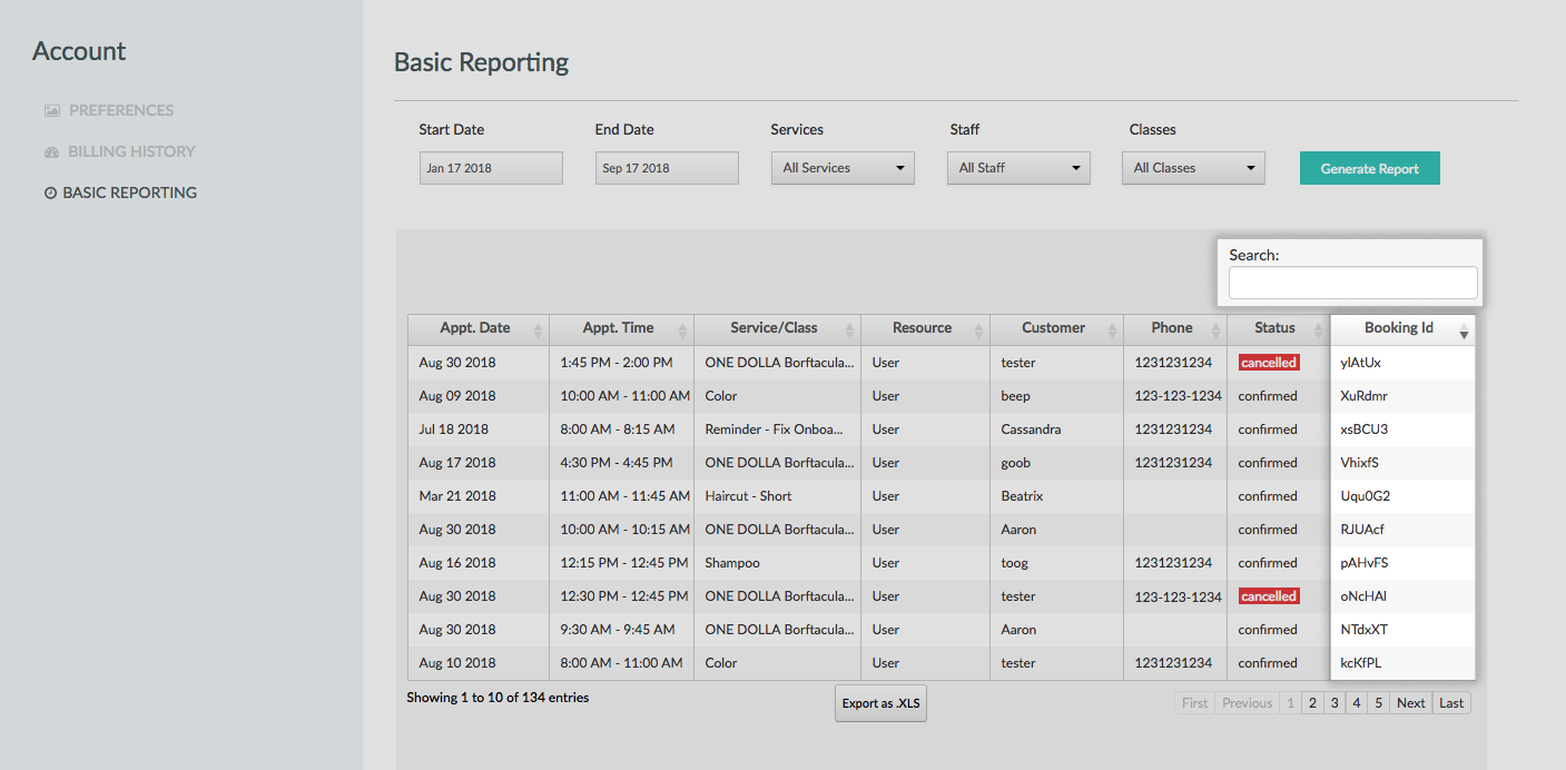 The Appointment History report with the Booking IDs