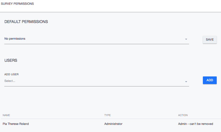 Ardoq surveys default permissions