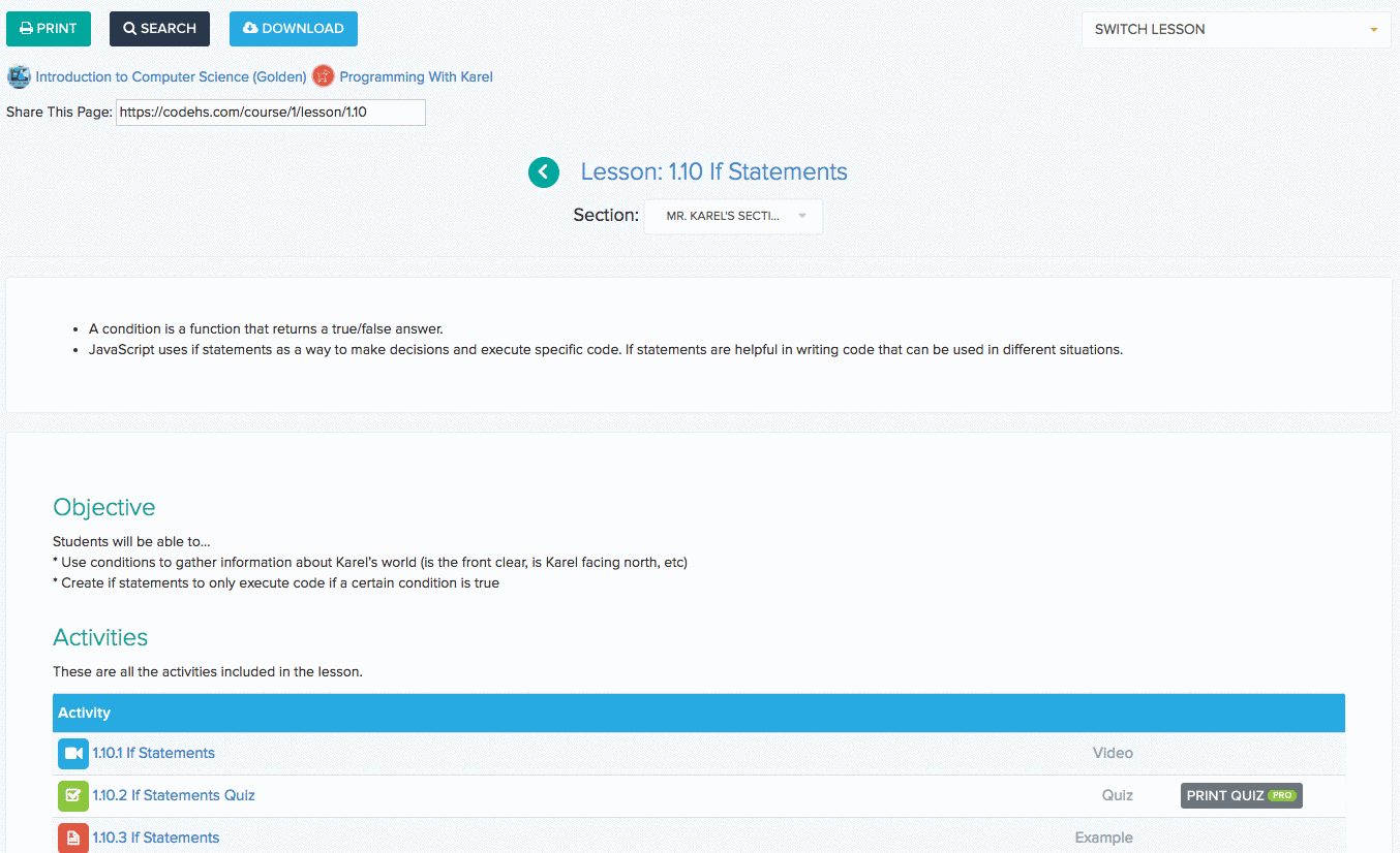 Screenshot of a sample lesson plan on CodeHS Pro