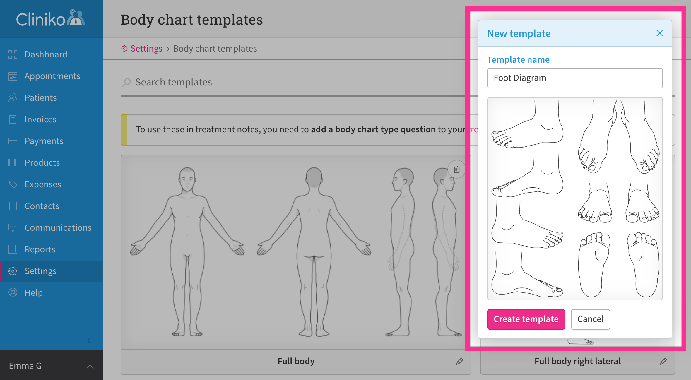 Upload Your Own Body Chart Templates   Cliniko Help