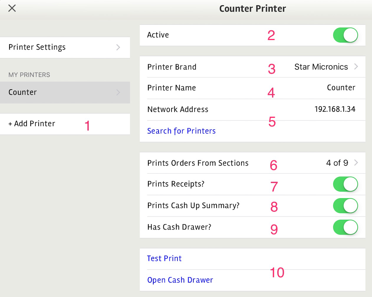 posBoss Printer Settings - Set up Printer