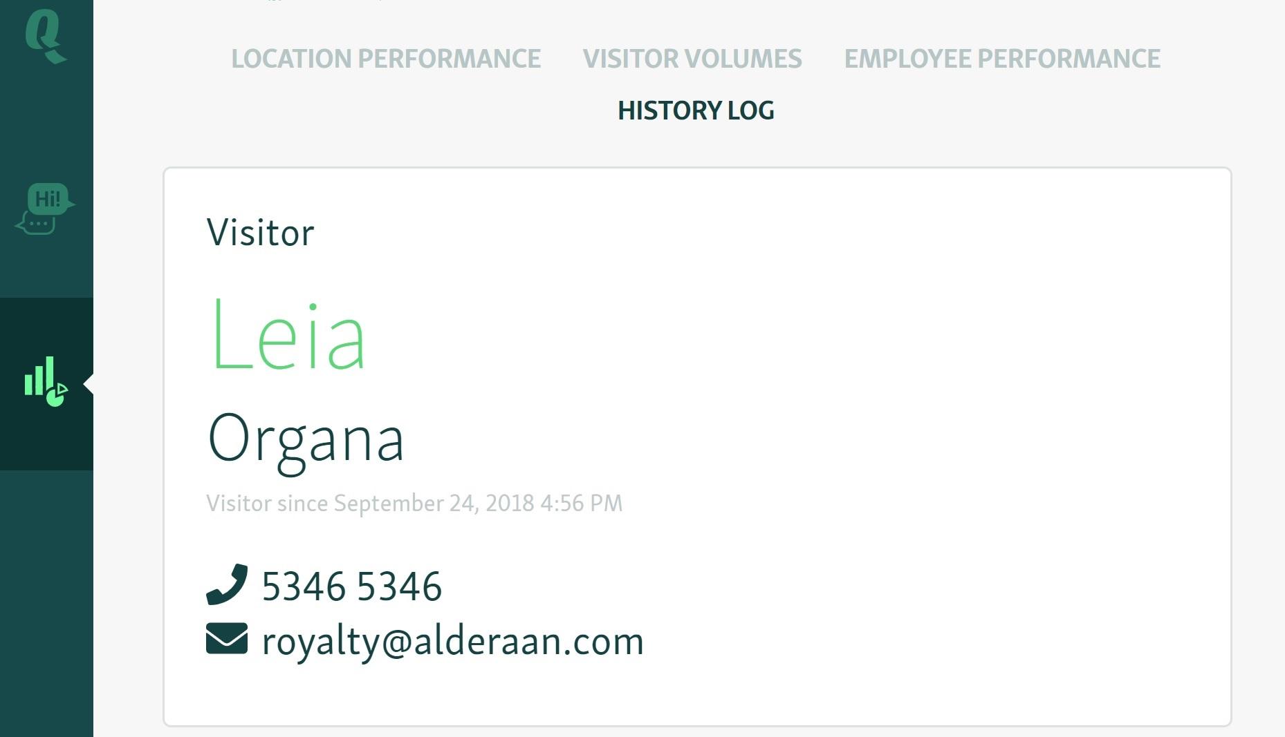 customer interaction history log