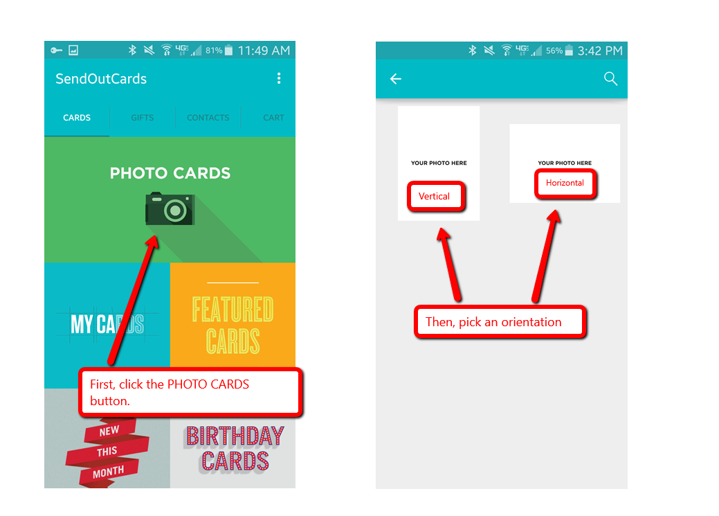 How Do I Create A Photo Card With The Android App Sendoutcards