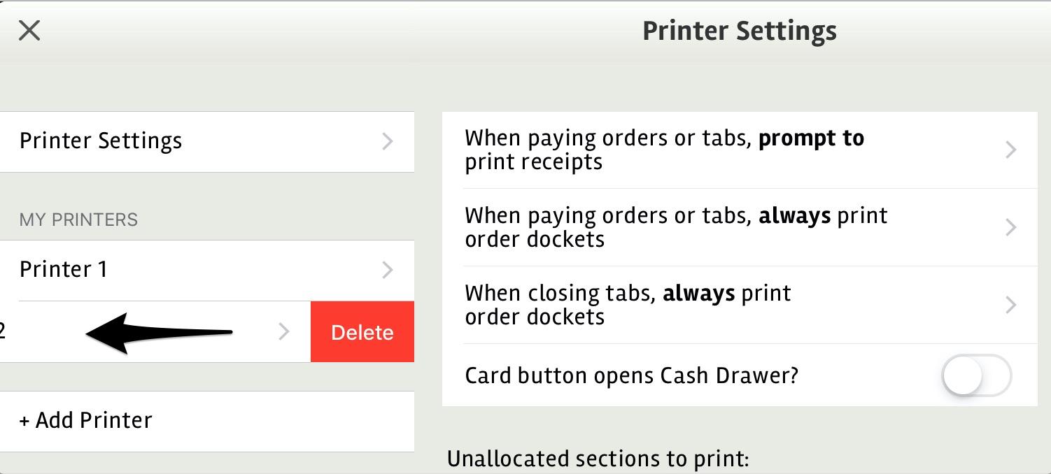 posBoss Printer - Delete