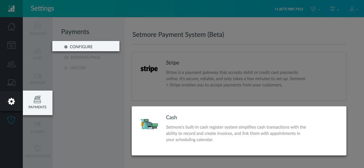Enabling Cash Register through the web app
