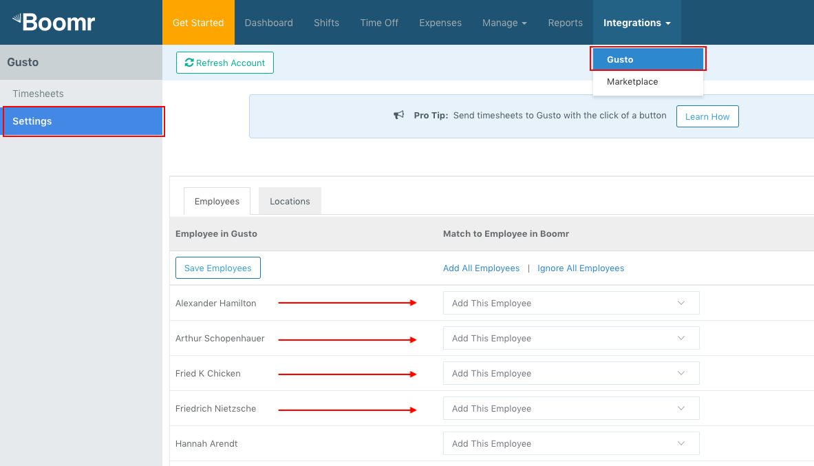 Screenshot showing how to see a list of employees pulled from Gusto