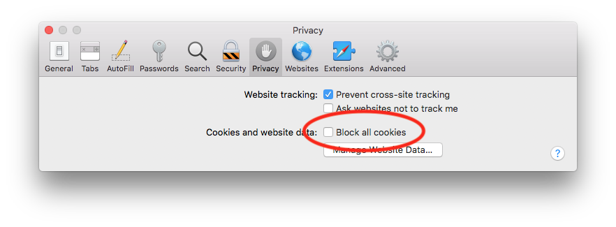 Block all cookies unticked in the privacy tab of Safari preferences