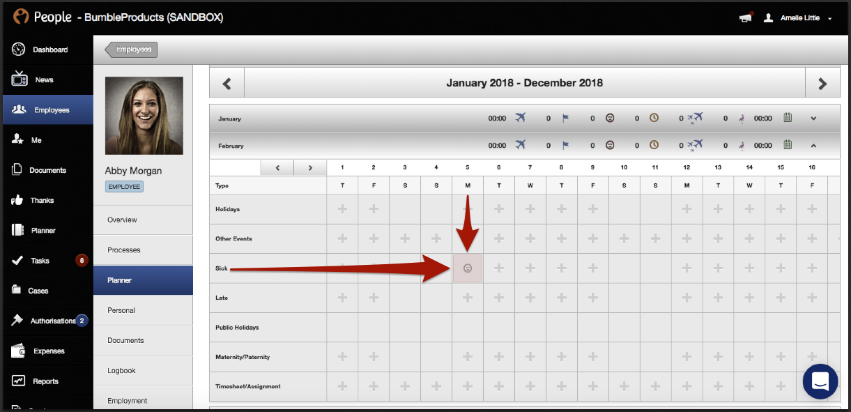 2. Click on the relevant month you wish to add Sickness and select the  appropriate day on the Sick line.