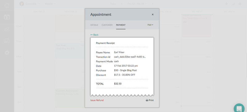 The invoice generated for the appointment