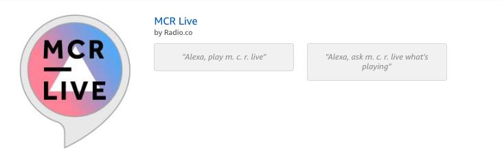 MCR Live alexa skill