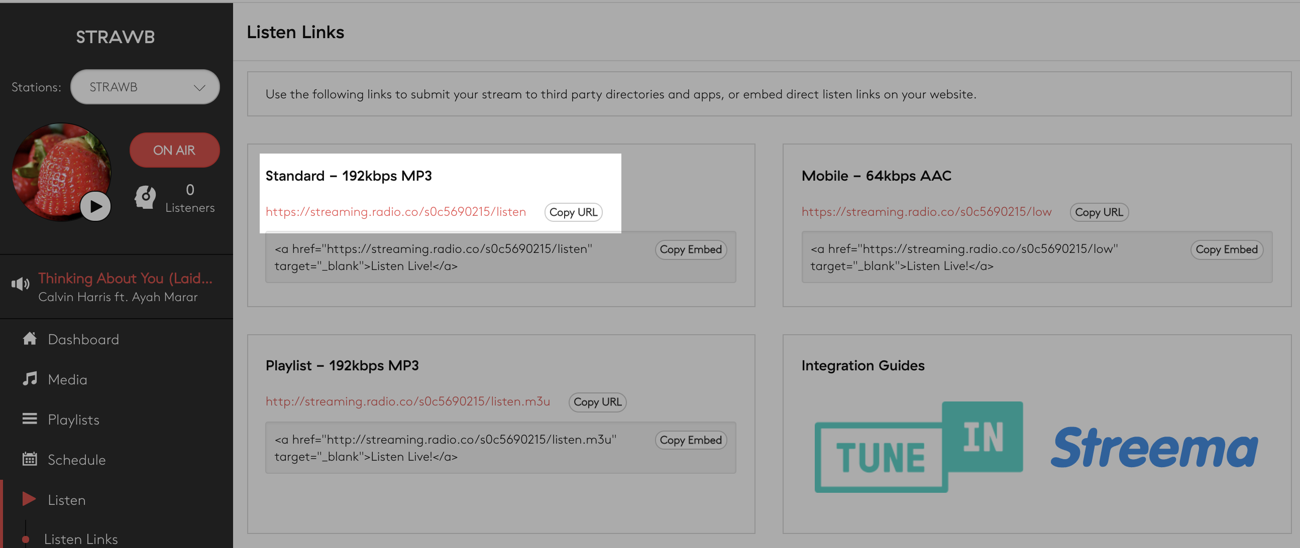 Copying the stream URL in the Radio.co dashboard.